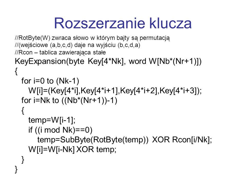 Rozszerzanie klucza KeyExpansion(byte Key[4*Nk], word W[Nb*(Nr+1)]) {